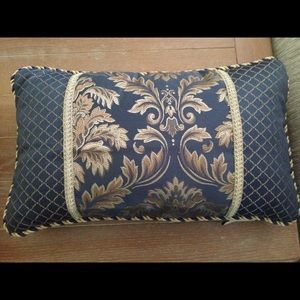 Blue Yellow Gold Rectangular Accent Throw Pillow